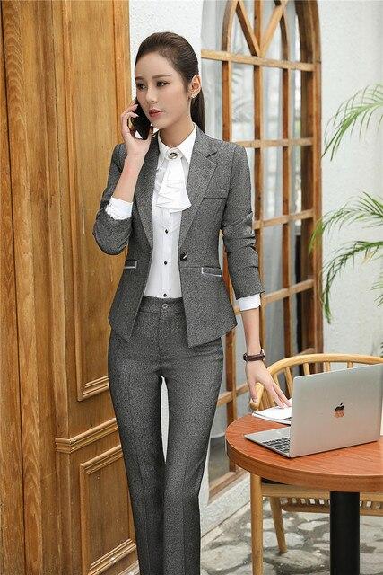 Abu-abu Blazer Wanita Pakaian Kerja Formal Sesuai dengan Celana dan Jaket  Set Wanita Bisnis e7da313c7f