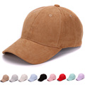 Plain Suede baseball caps with no embroidered strap back outdoor blank sport cap and hat for men and women