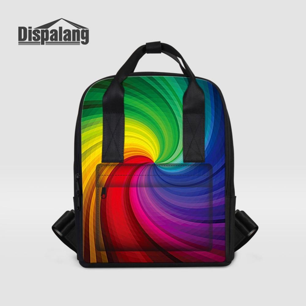 Dispalang Designer Women Backpacks Colorful Print School Bags For Teenagers Girls Female Travel Shoulder Bag Ladies