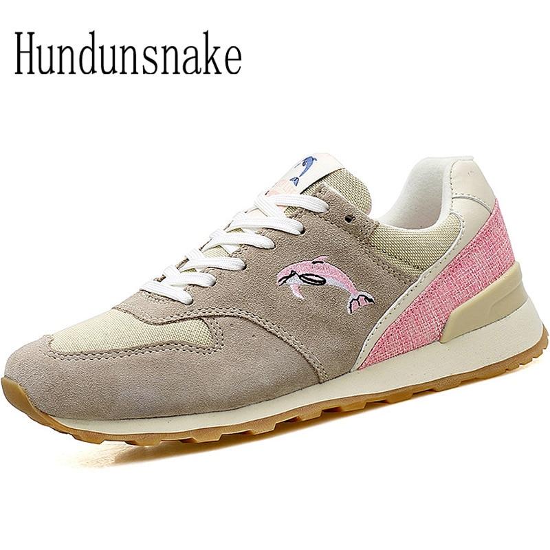 Hundunsnake Suede Sneakers Women 2018 Running Shoes Women Jogging Shoes Athletic Ladies Shoes Sport Female Krasovki Gumshoe T276