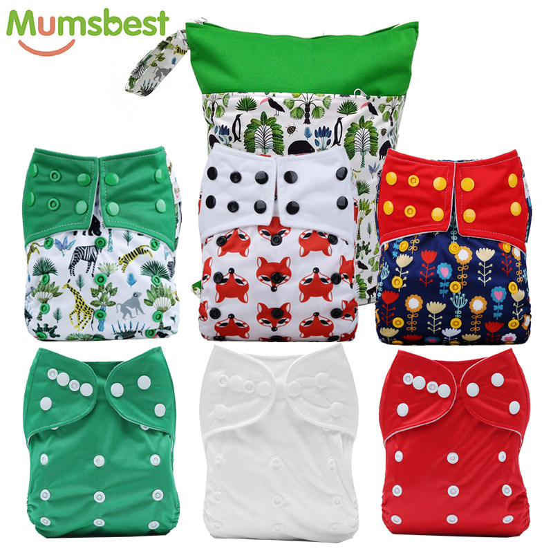 цена на [Mumsbest] Cloth Diapers 2018 New Diaper Bag Pack 7Pcs Baby One Size Reusable Cloth NAPPY Use With Flat or Fitted Nappy Diaper