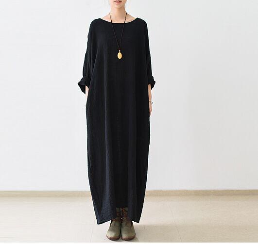 Nouvelle arrivée 2016 Automne Mode Femmes Noir dress piste élégant l'ukraine plus la taille d'une seule pièce dress avec poche femmes vêtements