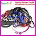 50 unids populares deportes gafas de sol lentes de los vidrios cuerda cordones cordón con blanco puntas de silicona y antideslizante bola envío gratis