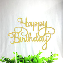 1Pcs Shining Happy Birthday Cake Topper for a Cake Gold Gillter Cake Flag for Family Birthday Party Baking Decoration Supplies(China)