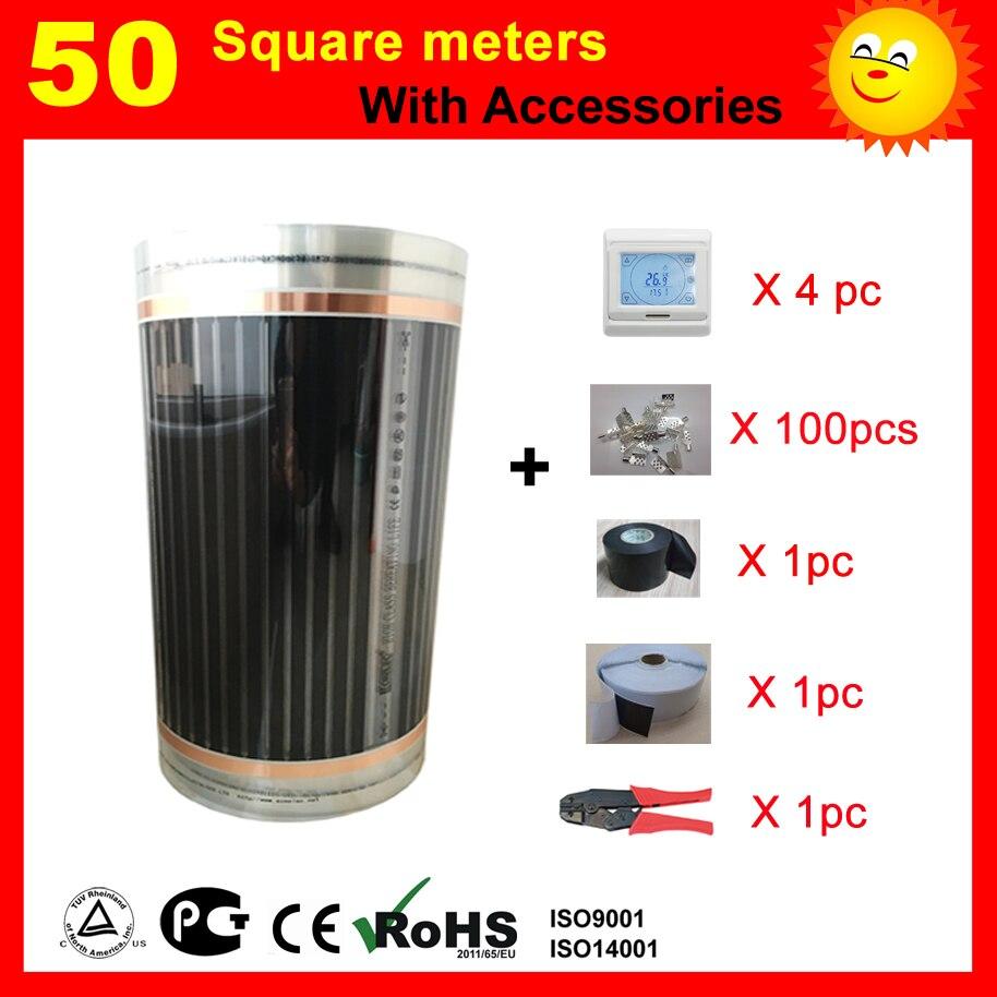Film chauffant électrique de 50 mètres carrés avec accessoires, AC220V +-10 V contrôle du thermostat chauffage par le sol