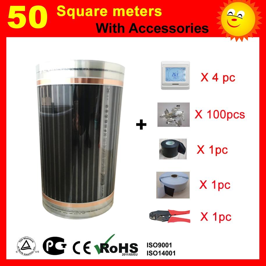 Film chauffant électrique de 50 mètres carrés avec accessoires, AC220V +-10V contrôle du thermostat chauffage par le sol