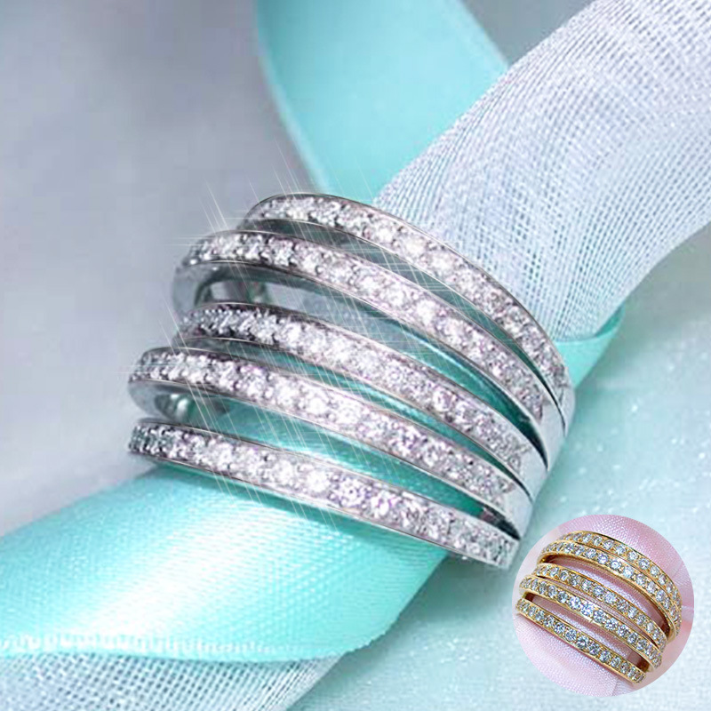Huitan Claddagh Twist Ring Luxury Elegant Wedding Bride Accessory Jewelry Geometric Personalized Women