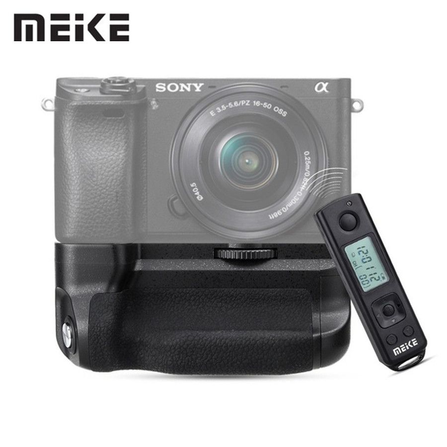 Meike MK-A6300 Pro Battery Grip Holder Suit Builtin 2.4G Wireless Remote Control for Sony A6000 A6300 Camera