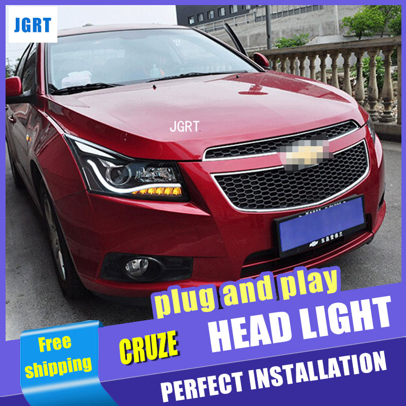 Car styling LED Head Lamp headlight for Chevrolet Cruze led headlight assembly 2009-2014 A8 drl H7  with hid kit 2pcs. car styling head lamp for bmw e84 x1 led headlight assembly 2009 2014 e84 led drl h7 with hid kit 2 pcs