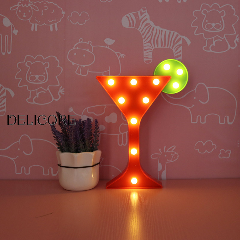 DELICORE INS Wine Glass Shaped Led Night Lights Animal Marquee Lamps On Wall For Kids Children Party Bedroom Decor Gifts JH-W056