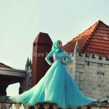 Meng Zhi Yuan JWD441 Green custom made ball gown long sleeves hijab muslim wedding dresses