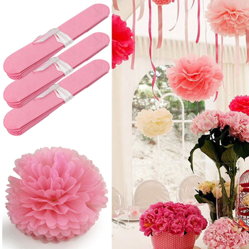 Aliexpress buy 20pcs 15cm6inch pink tissue paper flower aliexpress buy 20pcs 15cm6inch pink tissue paper flower pompoms pom poms kissing balls crafts home wedding festive party decoration from reliable mightylinksfo