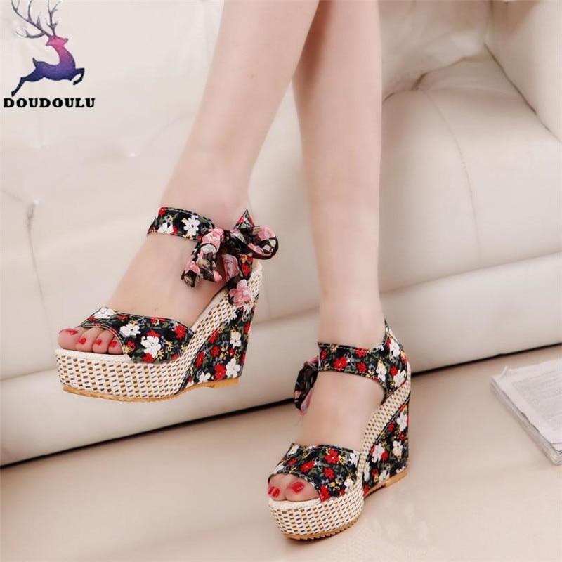 Nuevas sandalias de mujer zapatos de verano de Punta abierta cabeza de pez plataforma de tacones altos sandalias de cuña zapatos de mujer zapatos mujer
