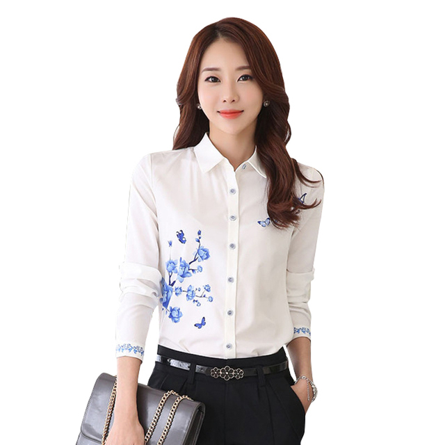 6479e095a58 2017 Spring Women Shirt Formal Work White Blouse Plus Size 3XL Floral  Printed Chiffon Tops Slim cotton Blusas female clothing