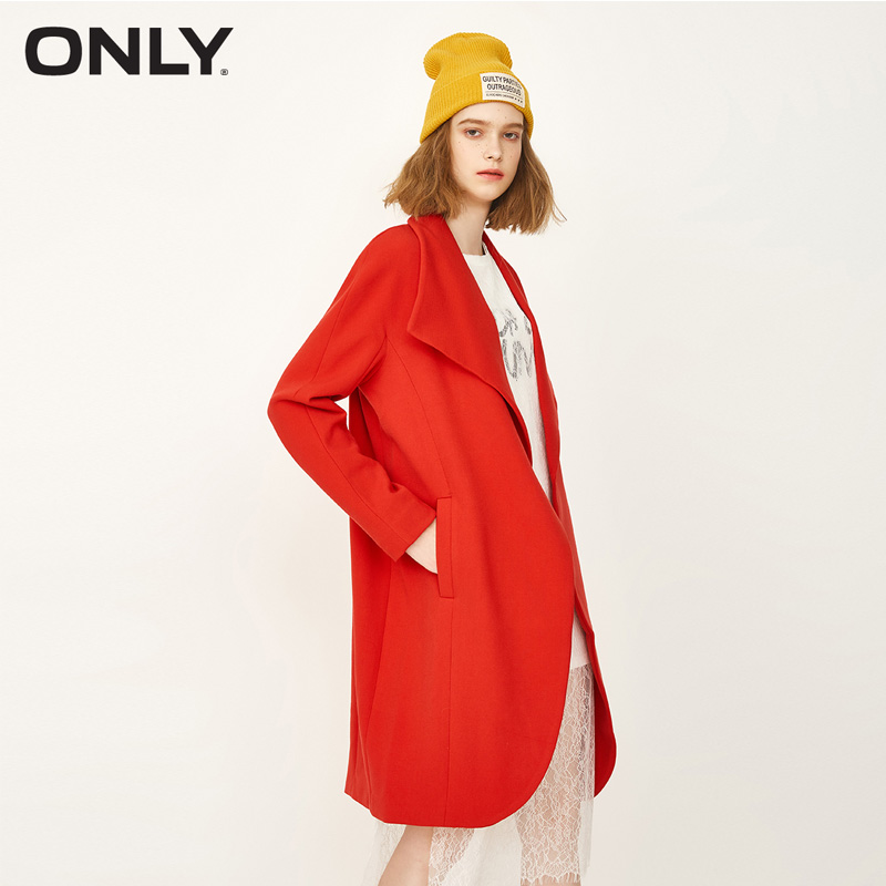 ONLY Brand 2019 New one button turn-down collar korean version loose and long style female   trench   coat| 116336535