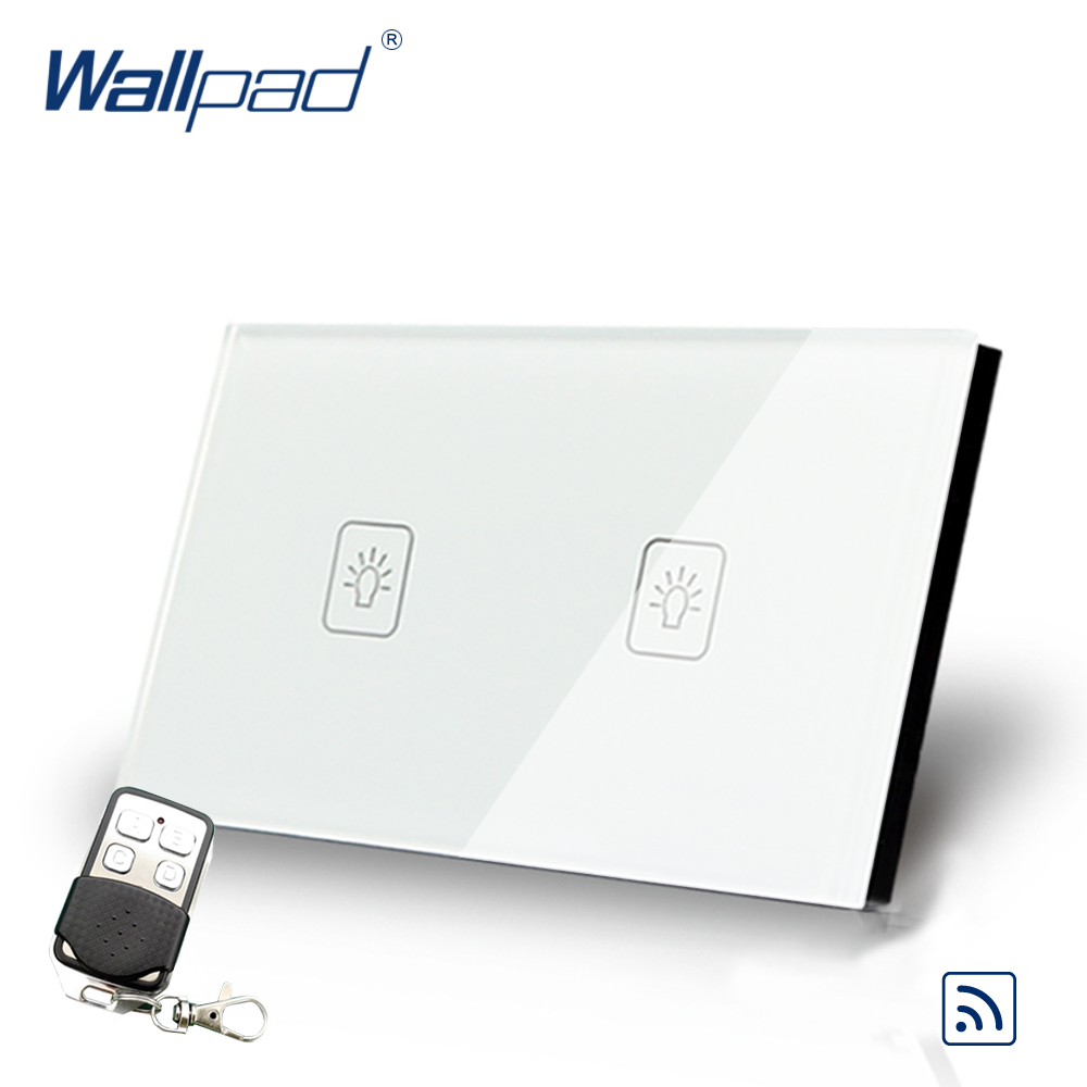 2 Gang Dimmer Remote Control US Touch Switch Wallpad Luxury White Crystal Glass Wall Switch With Remote Controller 433.92 MHz black remote control light switch crystal glass switch wallpad luxury us au 3 gang 2 way remote electric switch with controller