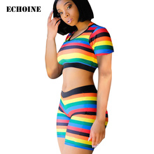 Colorful Triped Print Slim Bodycon 2 Pieces Set Women Tracksuit Skinny Fitness Crop Top and Shorts Sportwear Suit Running