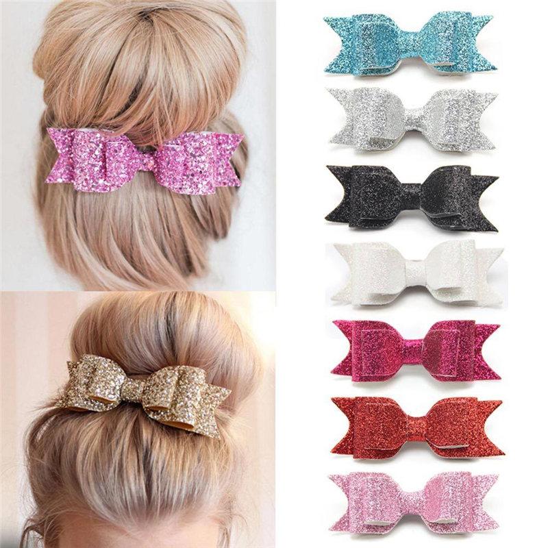 Realistisch Verkauf 1 Stück Frauen Mädchen Elegante Großen Bogen Haarspange Pailletten Haar Clip Glitter Haar Schmuck 16 Farben Hohe Belastbarkeit