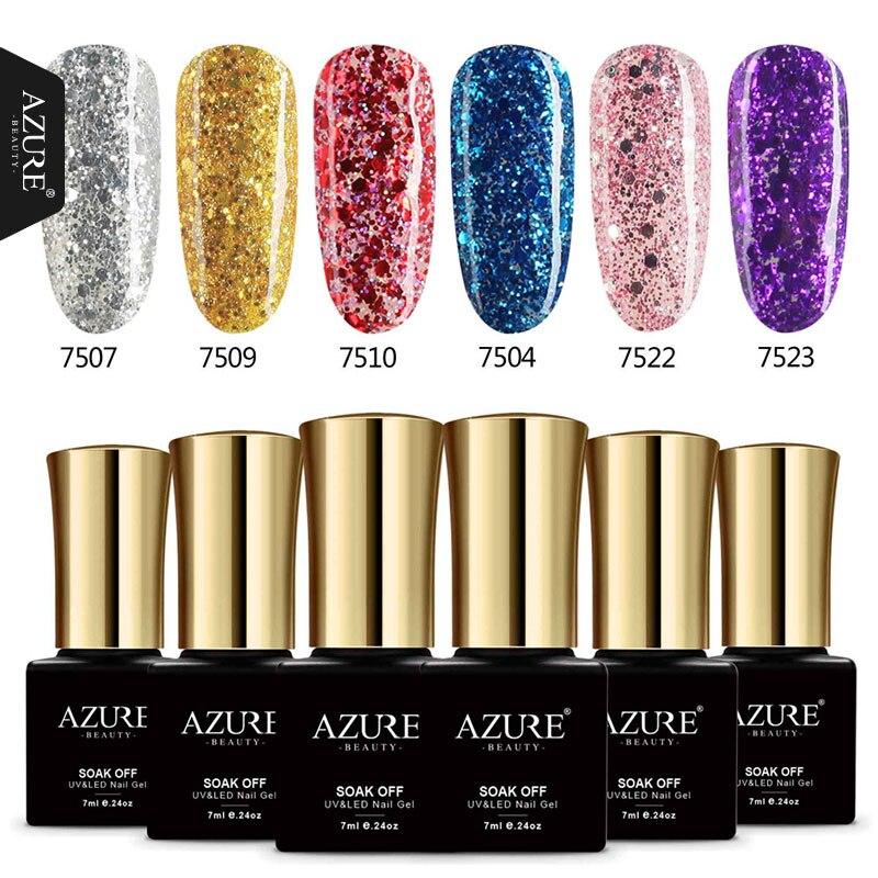 AZURE BEAUTY 6pcs lot Diamond Gel Nail Polish 28 Colors Glitter Gel Varnish Nail Polish Soak