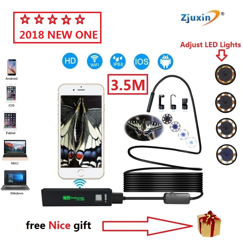2018 NEW 3.5M WIFI Endoscope New Camera 8mm HD Lens USB Iphone Android endoscope Tablet Wireless Endoscope wifi softwire 3 5m wifi endoscope new camera 8mm hd lens usb iphone android endoscope tablet wireless endoscope wifi softwire