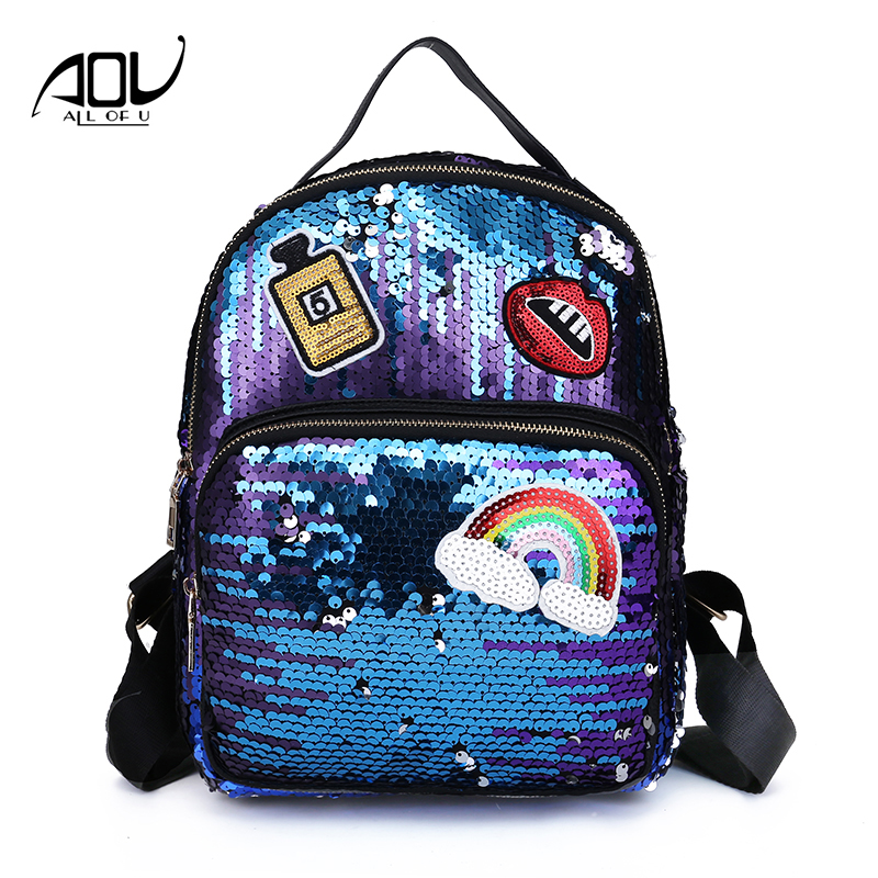 2018 Girls Fashion PU Sequins Backpacks Female Shoulder Bags Children Small Travel Princess Bling Backpack For Teenager Mochila