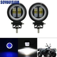 3Inch LED TẮT Raod Đèn Làm Việc Đèn 12V 24V 6500K 20W Với Đôi Mắt Thiên Thần Đèn điểm Sương Mù Xe Thuyền Xe Máy LED Làm Đèn