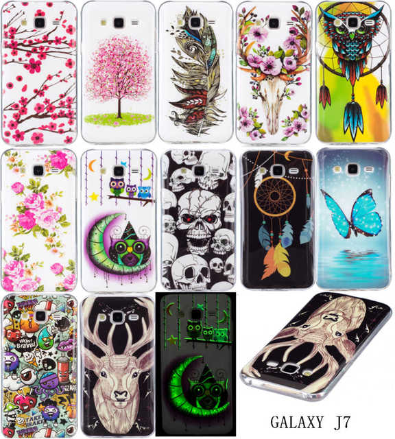 Luminous Cases For SAMSUNG Galaxy J7 2015 SM-J700H SM-J700M Duos SM-J700F/DS Soft TPU Silicon IMD Glossy Back Covers Art Pattern