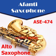 Afanti Music Eb tone / Brass body / Black Nickel Gold Saxophone (ASE-474)