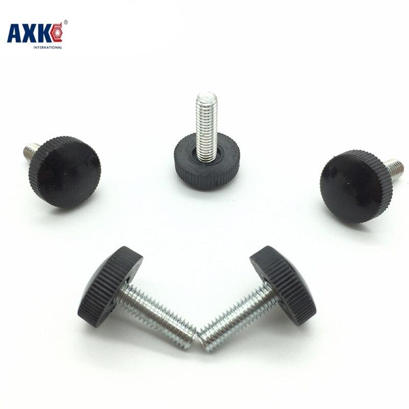 Axk 50pcs M3*6/8/10/12/16 Black Plastic Knurled Hand Tighten Thumb Screw 10pcs 6x15mm male threaded 22mm dia plastic thumb screw knurled knob