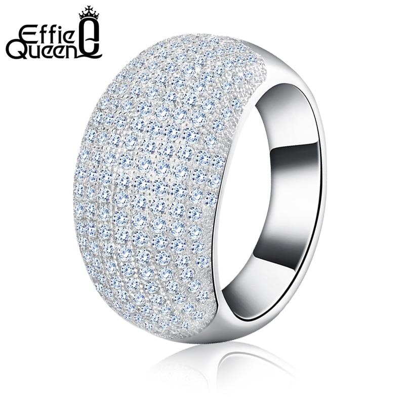 Prix pour Effie Reine New Trendy Charme 196 Pièces Zircons Relativement Unie Femmes Bague Réel De Luxe Cristal Grand Anneau DR123