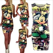 Sleeveless Camouflage Cartoon Mouse Military Mini Dress