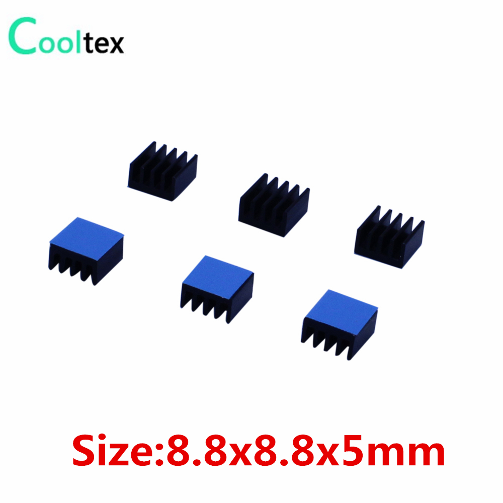 50pcs Aluminum Heatsink black Heat Sink Radiator Cooler 8.8x8.8x5mm For Electronic Chip IC Cooling With Thermal Conductive  Tape