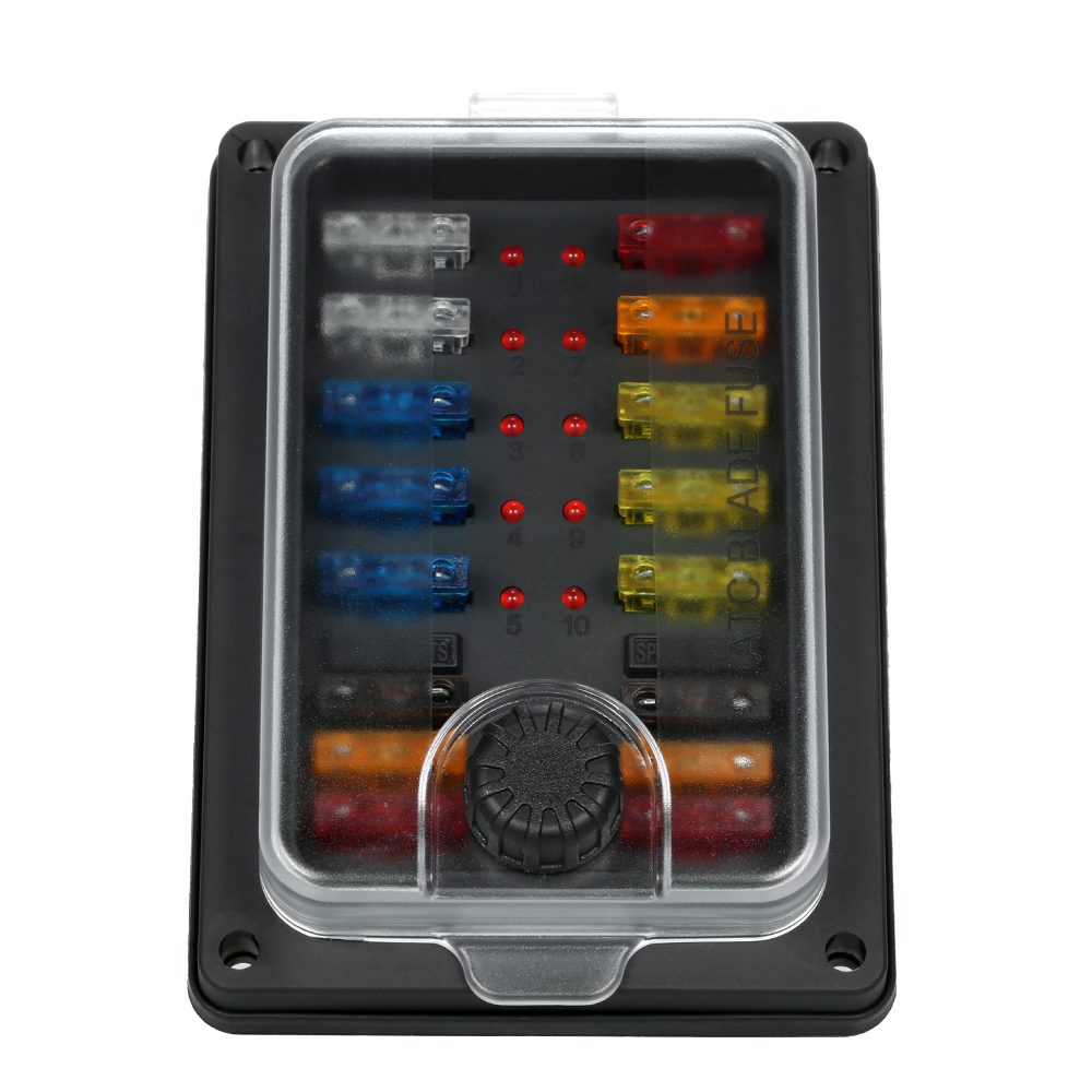 high quality 10 way blade fuse box with led indicator fuse block for car boat marine [ 1000 x 1000 Pixel ]