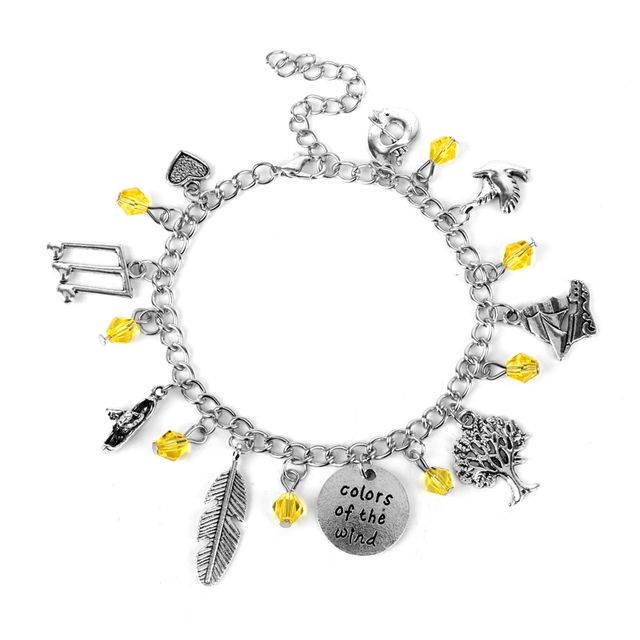 Whole Fashion Cartoon Jewelry Movie Pocahontas Bracelet Native American Princess Charms Link Chain Bangle For