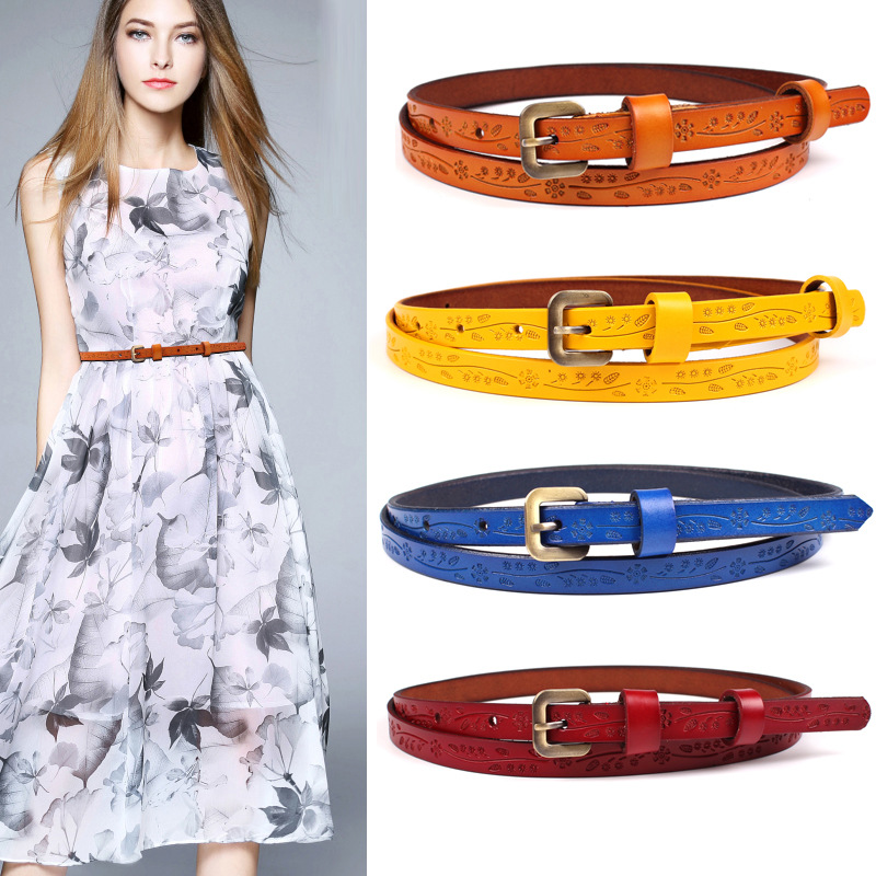 2019 New Yellow Red Black Thin Genuine Leather Dress Belt Womens Floral Carved Vintage Pin Buckle Belts For Women Ceinture Femme