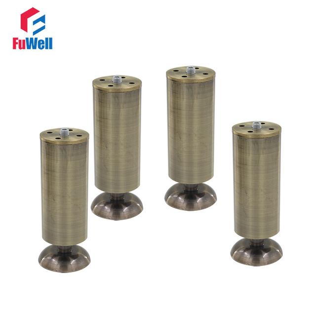 4pcs 150mm Height Adjule Furniture Legs Cabinet Sofa Bronze Aluminum Alloy 50mm Diameter Table Bed