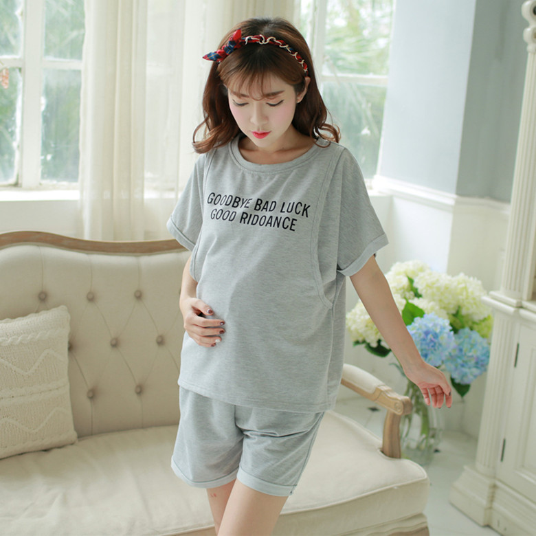 Cotton 2 Pieces Maternity Clothes Letters Maternity Sleepwear Breastfeeding Lounge Nursing Pajamas Pregnant Women Pajamas Summer