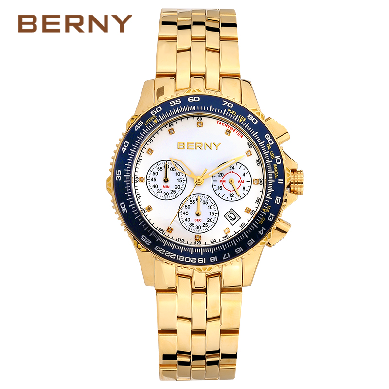 BERNY Original Watch Men Sport Quartz Men Watches Chronograph Wrist Watch Relogio Time Hour Clock Reloj Hombre Mens Watch DS025 cool men watch double time stopwatch luminous timing ring alarm 12 24 hour men wrist watch clock relogio masculino watch