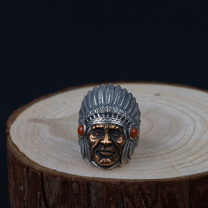 FNJ 925 Silver Pharaoh Ring Punk Natural Red Stone New Fashion S925 Sterling Silver Rings for