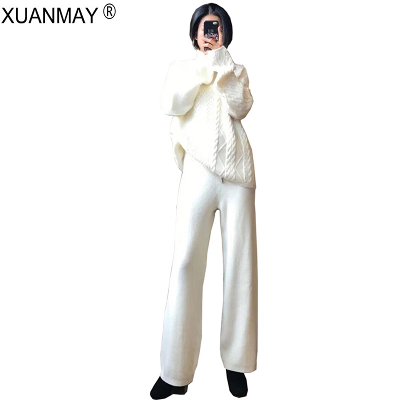 creamy Automne Pièces Deux Pantalon Deux Et Blanc Femmes Haut Haute Jambe cou Large Chandail En Épais white Bas Blue red Coréenne pièce Version Navy De black rvzqnSUrw