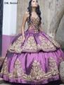 Dk imponente nupcial vestidos de quinceañera 2017 sweetheart oro bordado puffy sweet 16 vestidos vestido de quinceañera