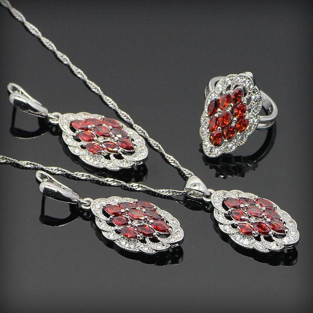 Red Criado Garnet Branco Topaz 925 Sterling Silver Conjuntos de Jóias Para As Mulheres Anéis/Brincos/Colar/Pingente Livre Caixa de jóias