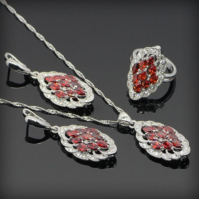 Red Garnet White Created Topaz 925 Sterling Silver Jewelry Sets For Women Rings/Earrings/Necklace/Pendant Free Jewelry Box