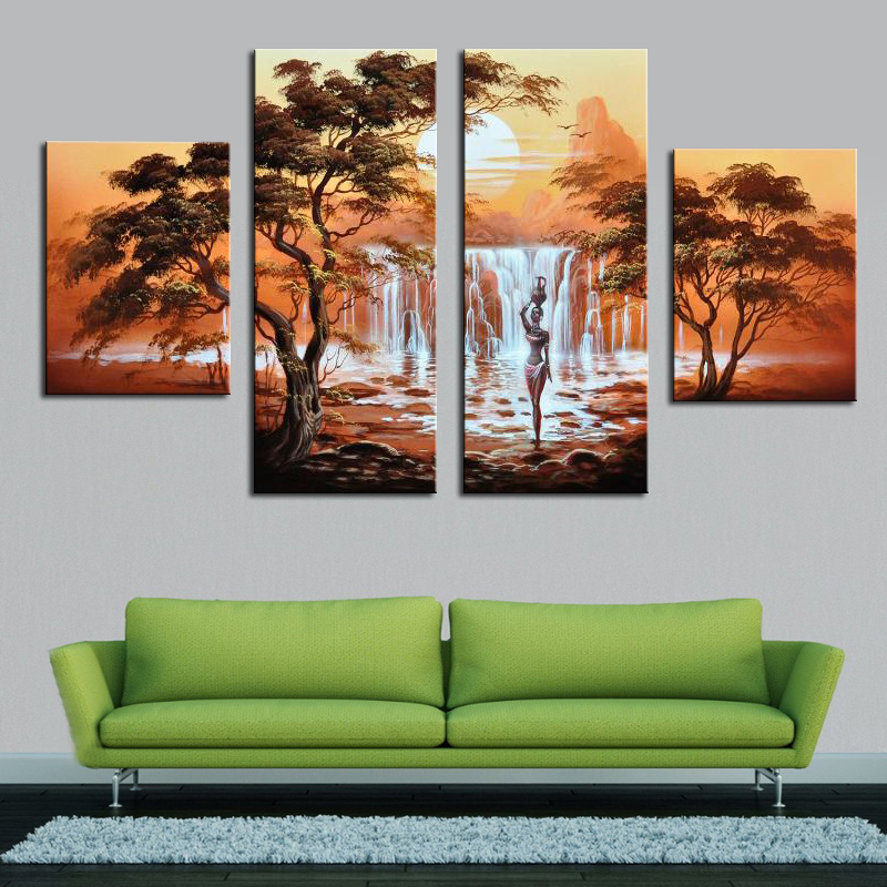 Frameless Pictures Painting By 100% Handmade Oil Painting On Canvas African nude women modern 4 canvas wall art Home decor