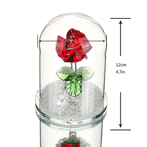 Image 5 - H&D Red Preserved Crystal Rose Flower in Glass Dome Ornament Collectible Gift Craft for Valentines Day Anniversary Birthday
