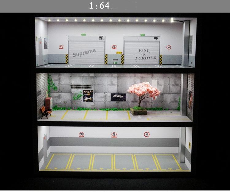 1:64 Parking Lot Model Display Cabinet Toy Car Storage Rack Shelf Box Simulation Garage Show Parking Zone Scene