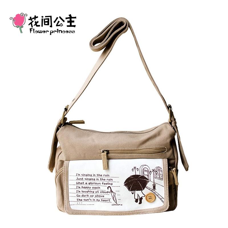ФОТО Flower Princess Brand Women Vintage Canvas Messenger Bags Khaki School Girl Retro Crossbody Bag Designer Student Shoulder Bag