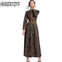 2019 spring New Women Bohemian Dresses Long Sleeve Printing Leopard Dresses High Waist turn down Collar Dress