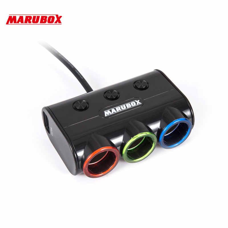 Marubox M12 3 Ways Auto Socket Splitter Car Cigarette Lighter Socket Splitter 12V/24V DC Dual USB Port Car Charger