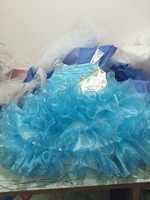 2014 New White And Turquoise Glitz Beaded Crystals Ruffled Tutu Kids Little Girls Pageant Dresses Size